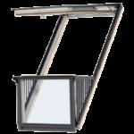 Okna balkonowe – dwuskrzydłowe okno, które może być otwarte, tworząc balkon. Wgórnej części znajduje się skrzydło uchylne, otwierane bezstopniowo do kąta 45°. Dolna część wysuwa się do pionu wraz zbarierkami po bokach.